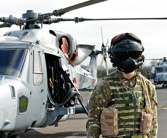 Soldier with helicopter