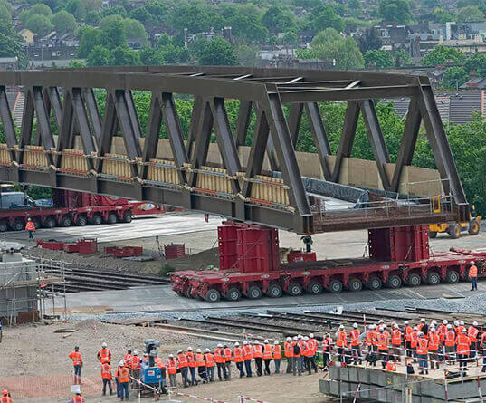 Bridge being moved into position