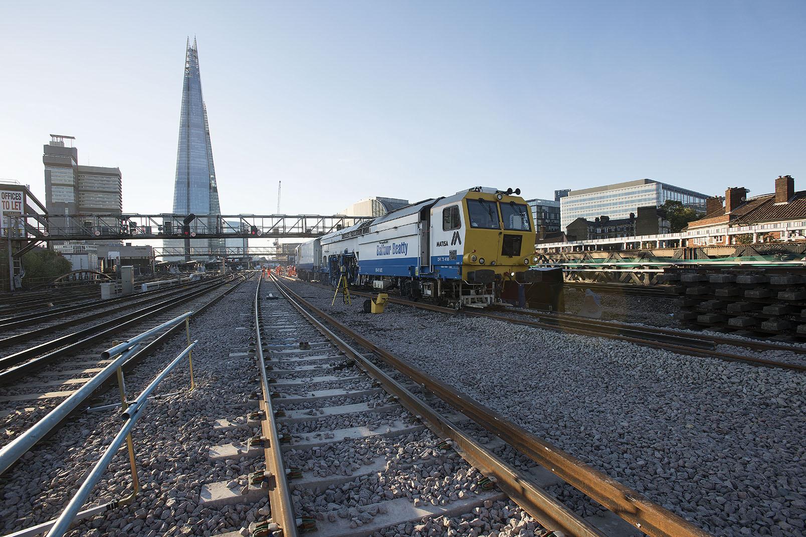 British railways track laying by night