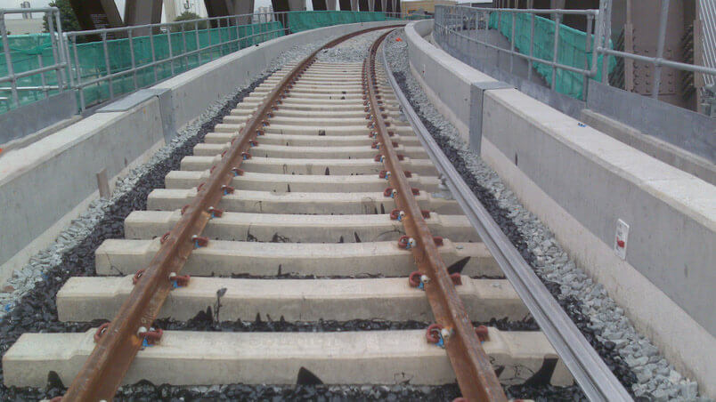 section of track showing Balfour Beatty's Xitrack in use