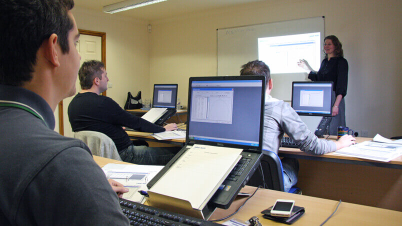 Training room of delegates undertaking a software training course