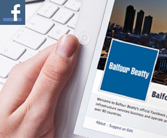 Balfour Beatty Facebook page displayed on a tablet