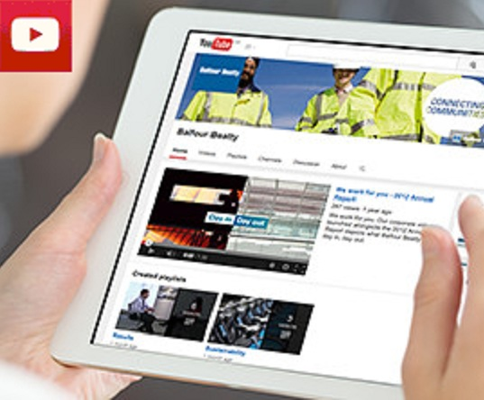YouTube page on a tablet