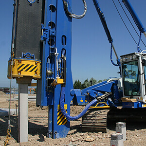 Picture of a precast driven pile being installed