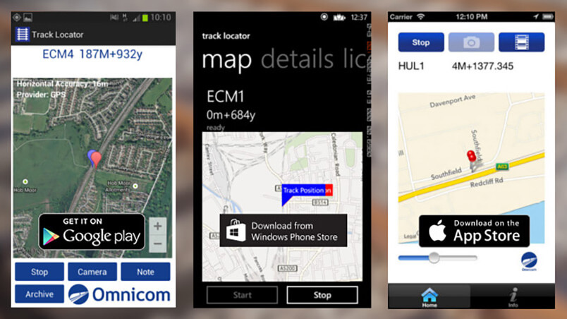 TrackLocator on various phone screens